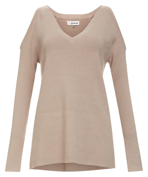 Cold Shoulder V-neck Ribbed Sweater