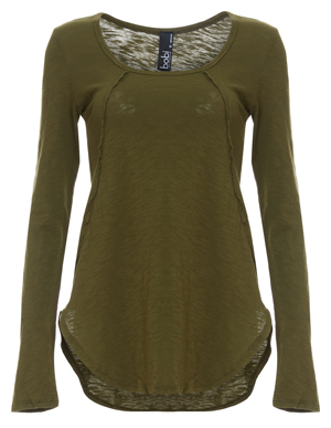 Bobi Solid Seamed Knit Tunic Top