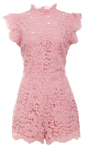 BB Dakota Feminine Scalloped Lace Romper