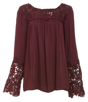 BB Dakota Fluttered Crochet Lace Detail Top