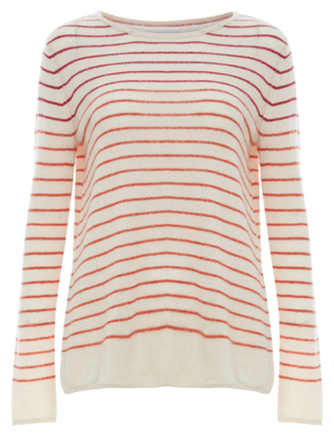 Velvet by Graham & Spencer 100% Featherweight Cashmere Striped Sweater