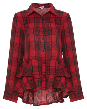 Lake Long Sleeve Plaid Shirt with Ruffles