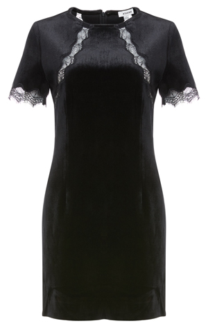 Fitted Lace Sleeve Velvet Dress