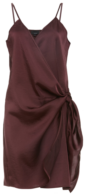 Side Wrap Tie Satin Dress