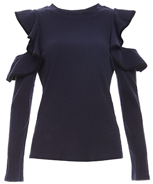 Long Sleeve Ruffle Fitted Top