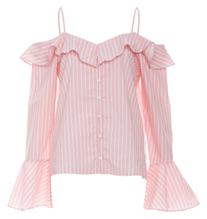 Pin Stripe Cold Shoulder Top