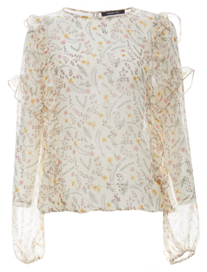 Sheer Printed Ruffle Detail Blouse