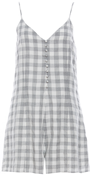 Front Button Grainy Plaid Romper