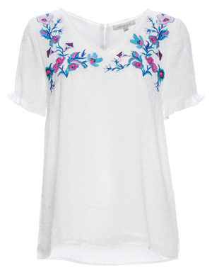 Skies Are Blue Embroidered Short Sleeve Top