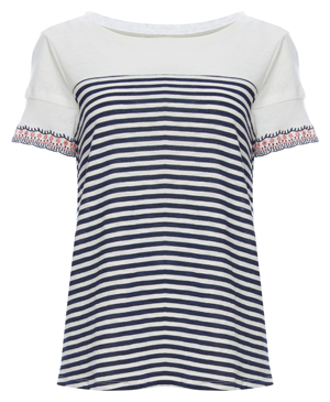 Skies Are Blue Embroidered Cuff Striped Tee