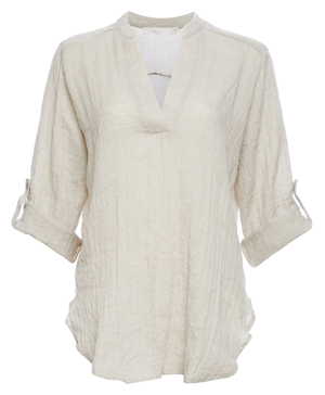 Lush Split Neck Roll Cuff Tunic