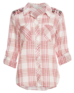 Skies Are Blue Embroidered Shoulders Plaid Shirt