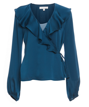 Wrap Ruffled Long Sleeve Top
