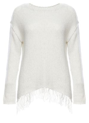 Velvet by Graham & Spencer Chunky Fringe Hem Sweater