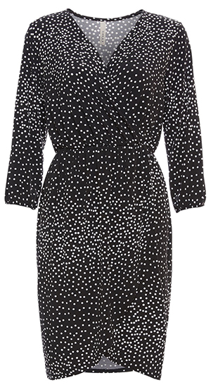 Surplice Front Polka Dot Dress