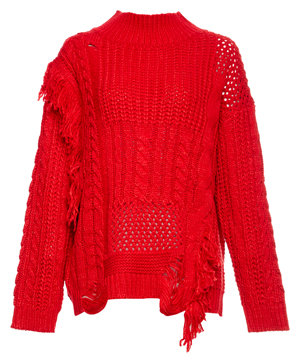Cable Knit Ragged Mock Neck Sweater