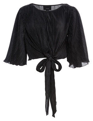 Front Knot Pleated Blouse