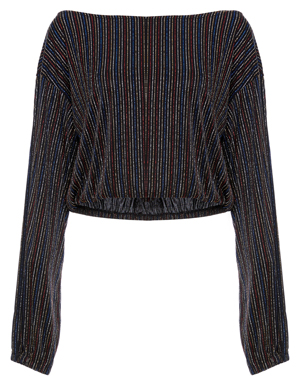 Lurex Striped Cropped Long Sleeve Top