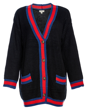 Button Up Varsity Long Cardigan