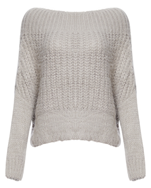 Boat Neck Fuzzy Knit Sweater