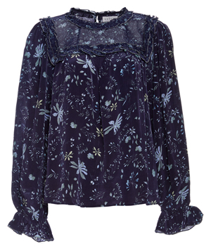 Velvet by Graham & Spencer Ruffle Printed Long Sleeve Top