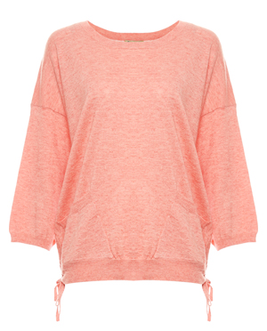 Democracy 3/4 Sleeve Side Ruching Sweater
