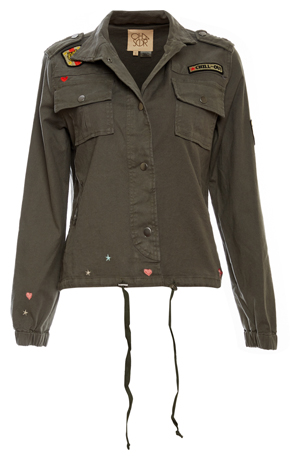 Chaser Vintage Canvas Military Jacket with Patches