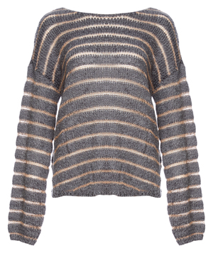 Mystree Striped Back Knot Sweater