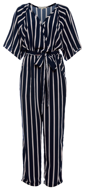 Striped Surplice 3/4 Sleeve Jumpsuit