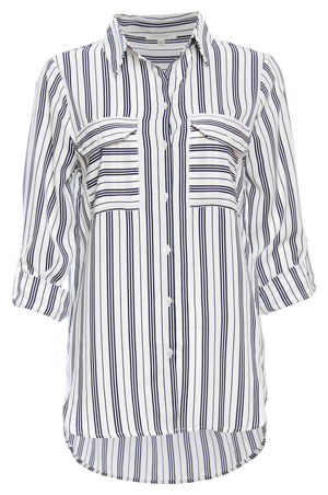 Double Pocket Striped Button Up