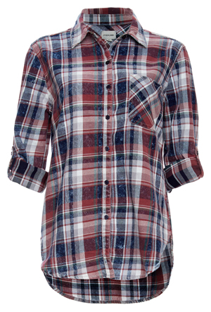 Button Up Single Pocket Plaid Shirt