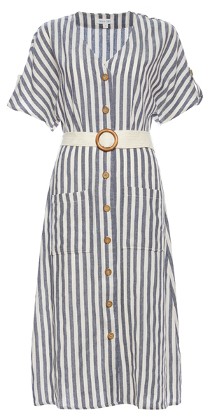 Short Sleeve Striped Button Up Dress