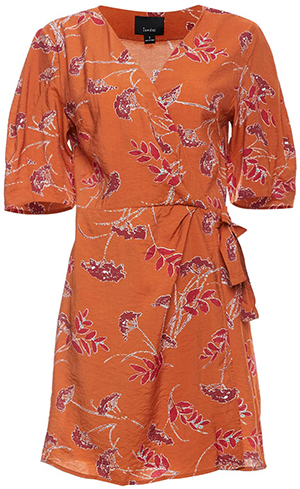 Short Sleeve Printed Wrap Dress