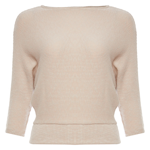 Boat Neck 3/4 Sleeve Knit Top
