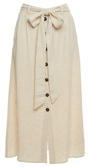 Buttoned Front A-Line Skirt