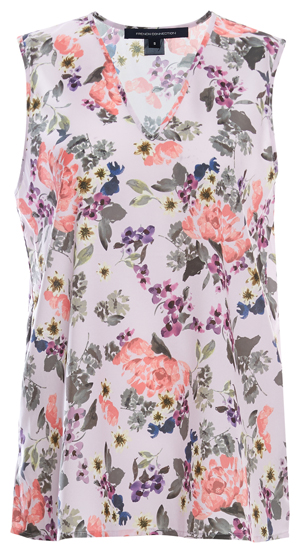 French Connection V-Neck Sleeveless Printed Top