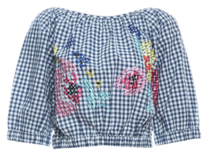 French Connection Gingham Embroidered Top