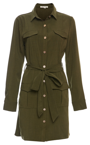 Buttoned Front Long Sleeve Cargo Dress
