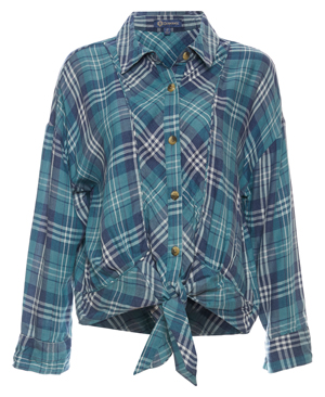 Democracy Button Up Front Tie Plaid Top