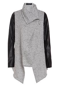 Glamorous Tweed Waterfall Jacket in White | DAILYLOOK