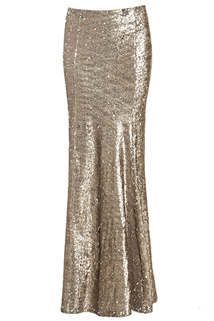 Line & Dot Matte Sequin Mermaid Skirt in Gold | DAILYLOOK