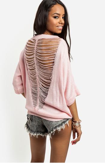 Shredded Back Sweater Slide 1