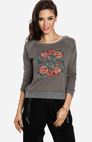 Embroidered Rose Sweatshirt Slide 1