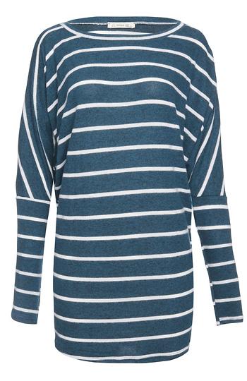 Striped Brushed Long Sleeve Top Slide 1