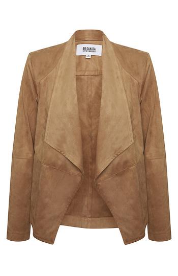 BB Dakota Faux Suede Drape Front Jacket Slide 1