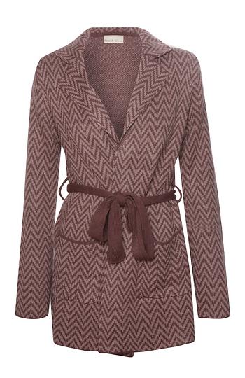 Chevron Pattern Knit Coat Slide 1