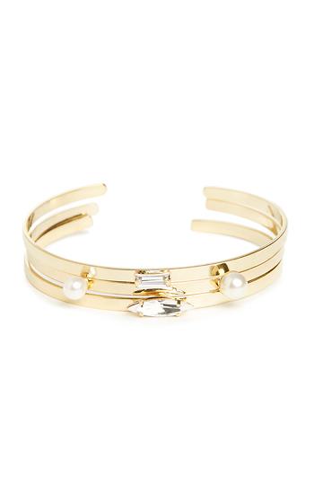 J.O.A Crystal Gem & Pearl Cuff Bracelet Slide 1