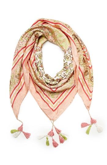 Vismaya Floral Print Tassel Silk Scarf Slide 1