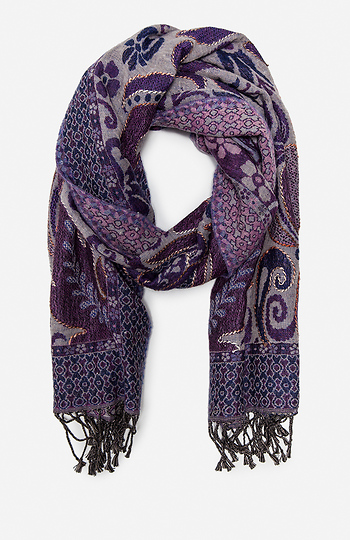 Vismaya Embroidered Filigree Scarf Slide 1