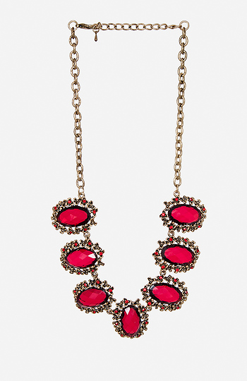 Antiqued Floral Gem Necklace Slide 1